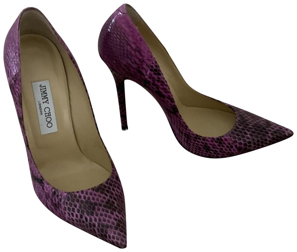 2d4468e8dbc3 Jimmy Choo Snakeskin Point Toe High 38.5 Glossy Elaphe Orchid Pumps Image 0  ...