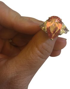 Charles Winston Pink And White Cubic Zirconia Rhodium Over Sterling Silver Ring 19.76c
