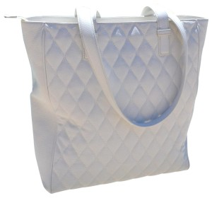 Vera Bradley Shoulder Quilted Leather Zipper Shopper Tote in White