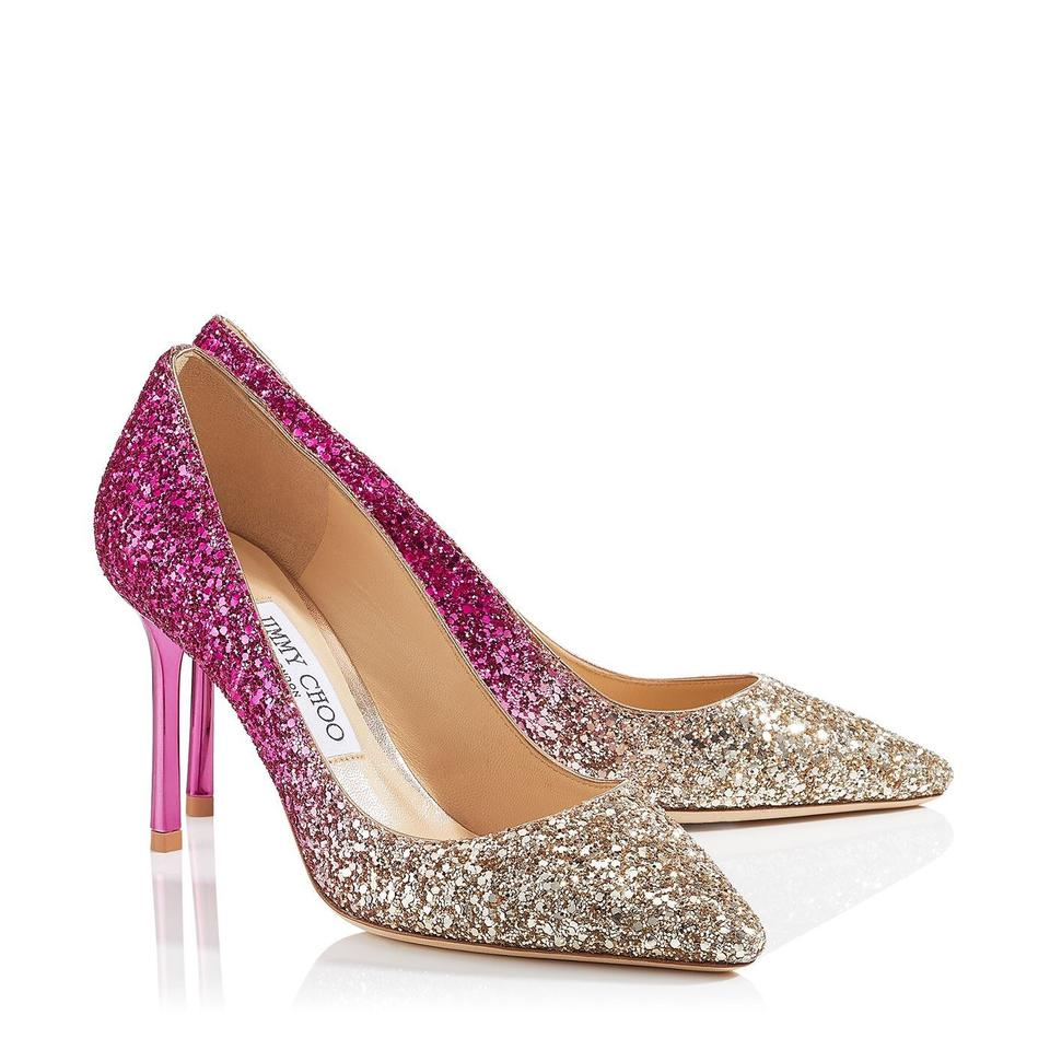 65a1433dfe Jimmy Choo Gold and Holt Pink Romy 85 Pumps. Size: EU 38.5 (Approx. US 8.5)  Regular (M ...