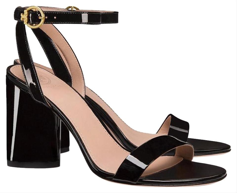 348f21b831a Tory Burch 85mm Heels Ankle Strap Chunky Heel Black Sandals Image 0 ...