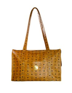MCM Logo Monogram Coated Canvas Beach Tote in Cognac