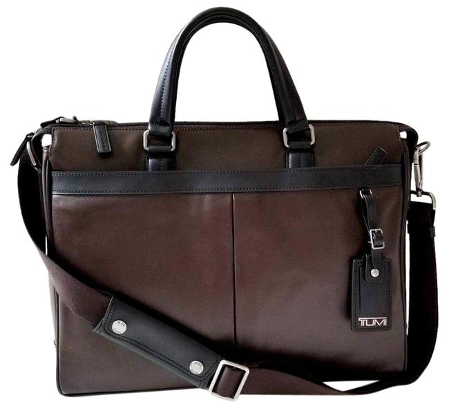 Item - Crossbody New Two Tone Briefcase Business Travel Black Brown Leather Laptop Bag