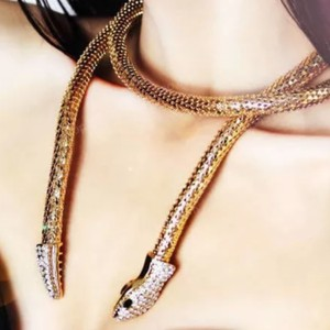 Other Women's Thick Snake Necklace With Faux Diamonds. Statement Necklace.