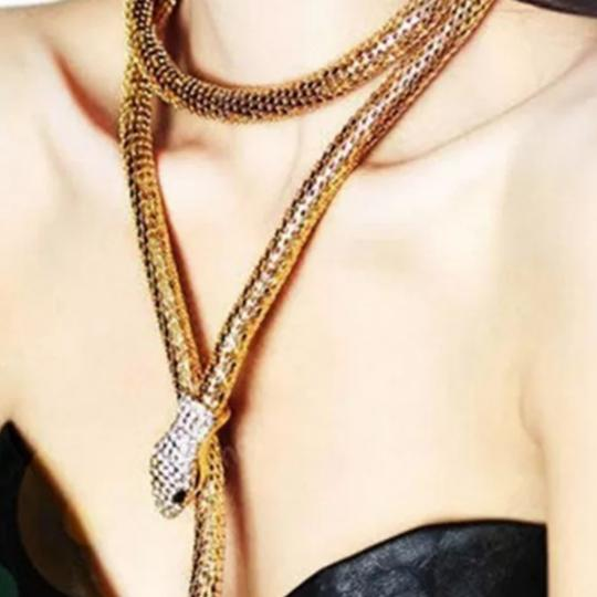 Other Women's Thick Snake Necklace With Faux Diamonds. Statement Necklace. Image 1