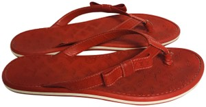 Louis Vuitton Lv Rubber Lasercuts Musthave Sumerwear red Flats