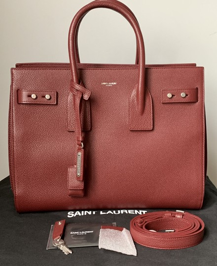 Saint Laurent Sdj Small Sdj Sac De Jour Sdj Tote in Red Burgundy Palissandre Image 2