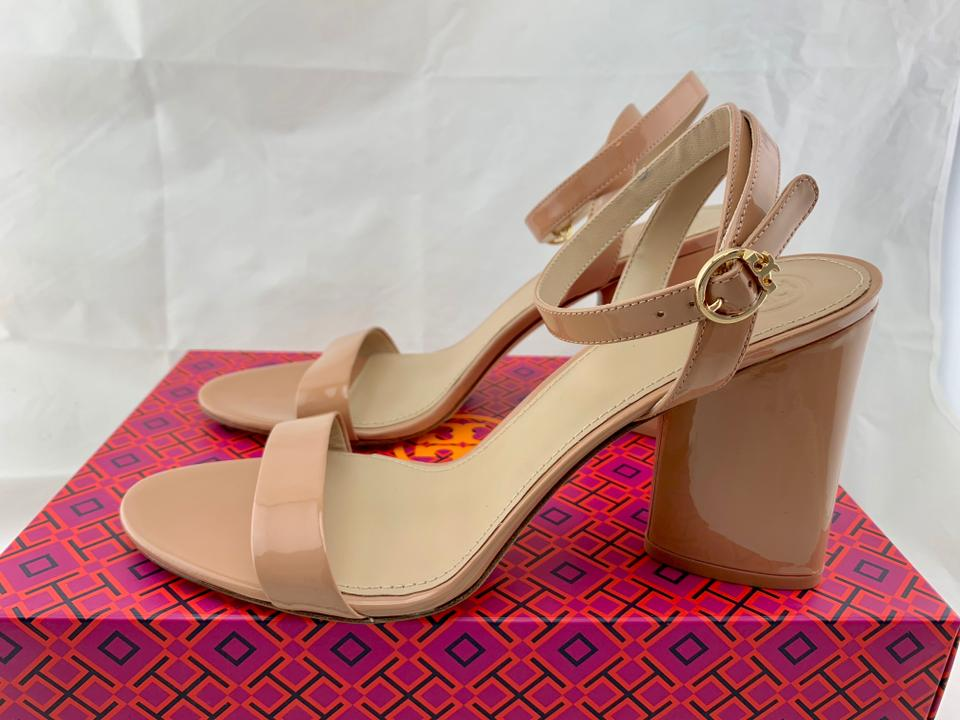 b5db530218a Tory Burch 85mm Heels Ankle Strap Chunky Heel Nude Sandals Image 9.  12345678910