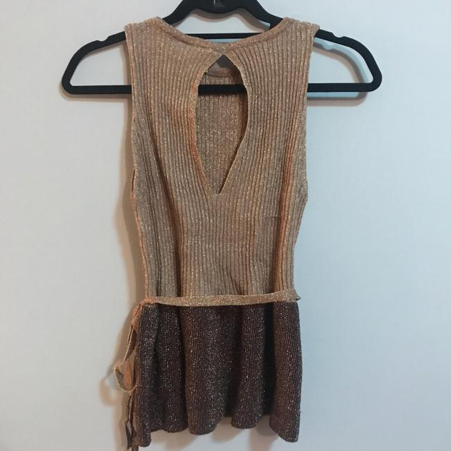 Anthropologie Top Metallic gold and brown Image 1