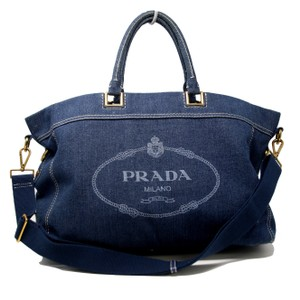 Prada Monogram Saffiano Frayed Overnight Tote in Blue Denim
