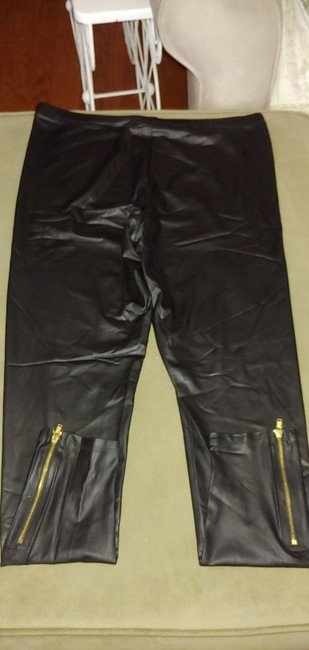 City Streets Black with gold ankle zipperd Leggings Image 1