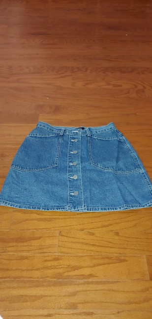 New York & Company Mini Skirt Denim with silver NY buttons Image 1