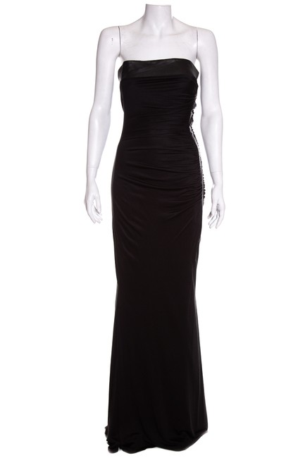 Preload https://img-static.tradesy.com/item/24688497/black-couture-silk-jersey-and-leather-long-cocktail-dress-size-10-m-0-0-650-650.jpg