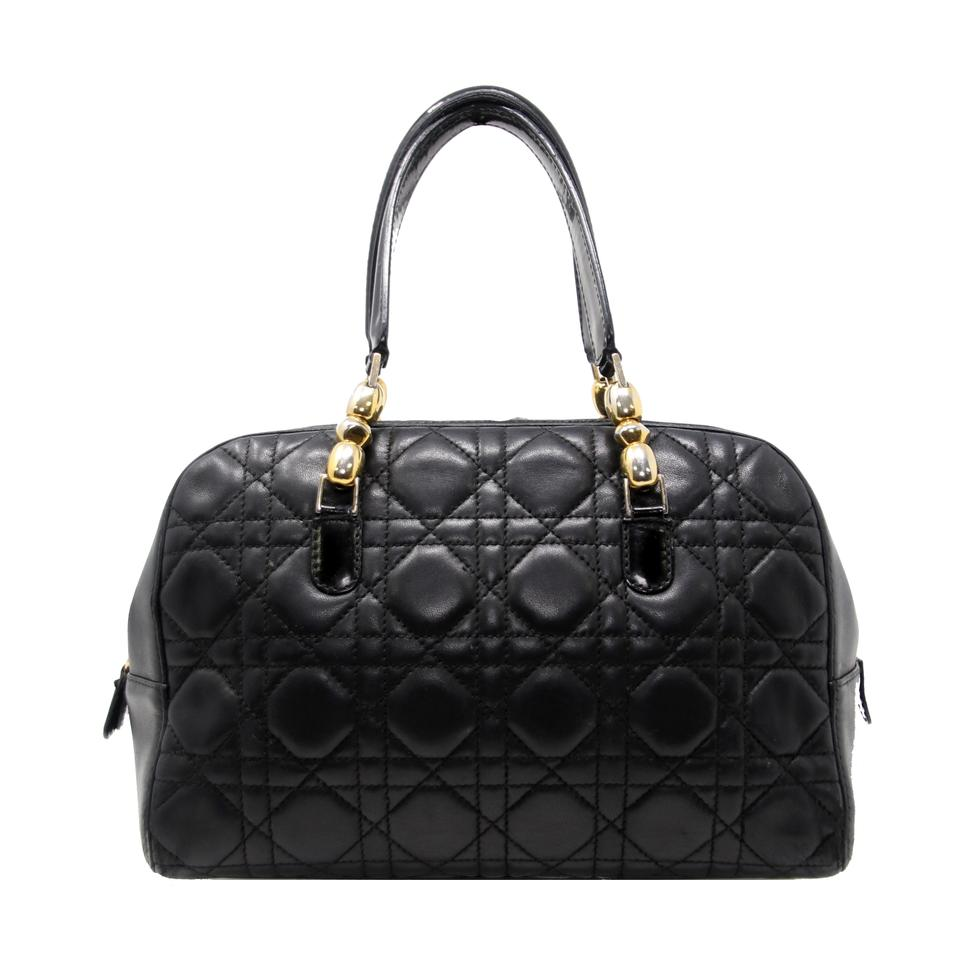 28b35627bf6 Dior Cannage Quilted Top Zip Handbag Black Lambskin Leather Satchel ...