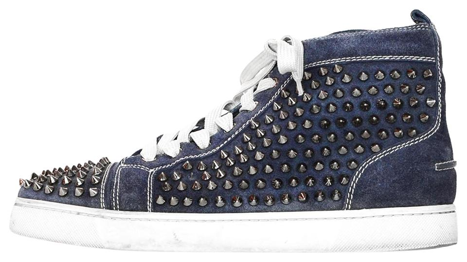 6f93ad1580e1 Christian Louboutin Navy Suede Louis Spiked Hi Top Sneakers Sneakers ...