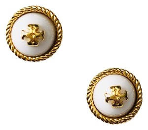 2d17bd33e048 Tory Burch Ivory in Gold Rope Pearl Stud Earrings