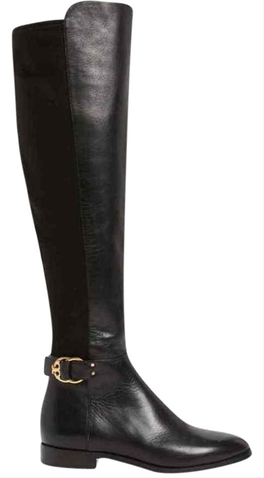 a9b47673bcb Tory Burch Black Marsden Leather Stretch Gold Reva Over The Knee Zip Boots  Booties