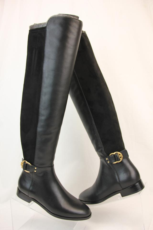 befccf25368b Tory Burch Black Marsden Leather Stretch Gold Reva Over The Knee Zip Boots  Booties Size US 8.5 Regular (M