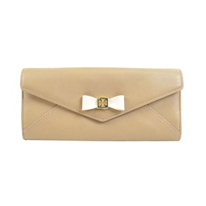 Tory Burch Bow Tie Soft Leather Envelope Continental Wallet