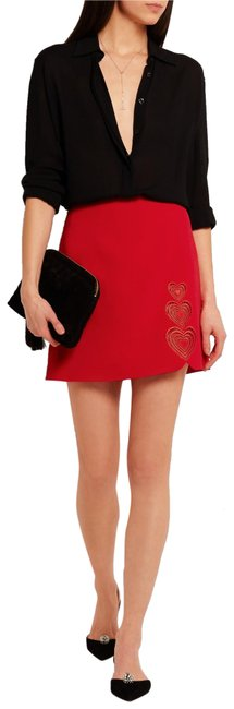 Item - Red Heart Embroidered Cutout Crepe Skirt Size 6 (S, 28)