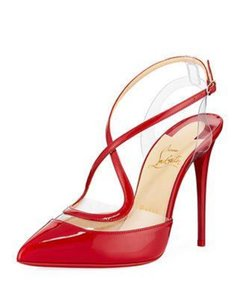 Christian Louboutin Stiletto Pvc Ankle Strap Patent Leather Cupidetta Red Sandals