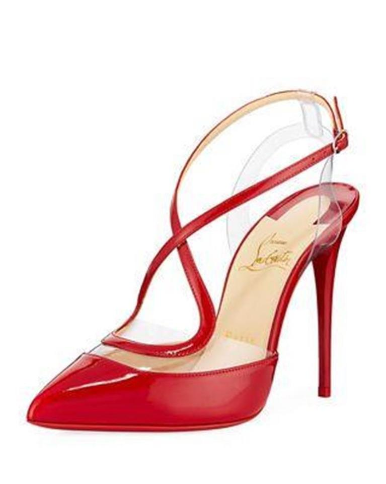 a5509cc25b6 Christian Louboutin Red Cupidetta 100 Pvc Patent Leather Ankle Strap Heels  Sandals