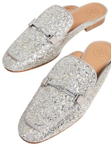 Tory Burch Loafers Glitter Glitter Leather Loafers Shimmer Loafers silver Flats