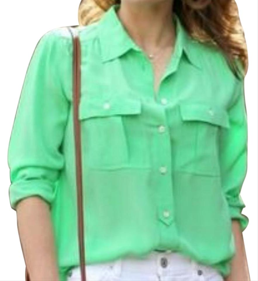 2c3ad4bca9bde J.Crew Green Silk Blythe Button-down Top Size 8 (M) - Tradesy