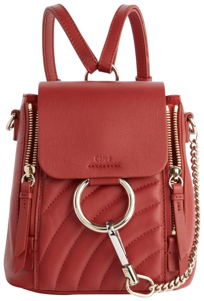 ba2b68bd6 Chloé Faye Mini Quilted Red Leather Backpack - Tradesy