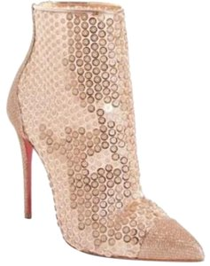 Christian Louboutin Ankle Heels Lace Gipsy Nude Boots