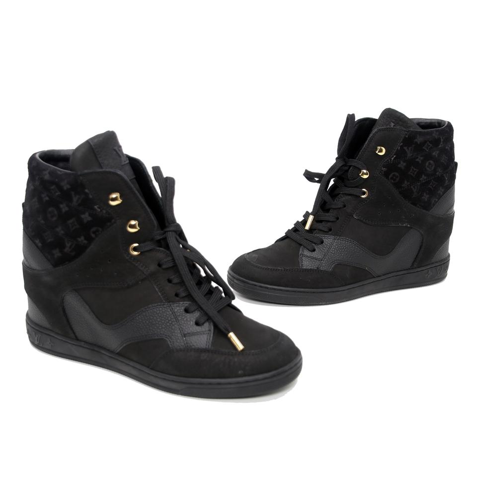 d03542c8b5fb Louis Vuitton Black Monogram Suede Calfskin Leather Cliff Top Wedge Sneakers  Boots Booties
