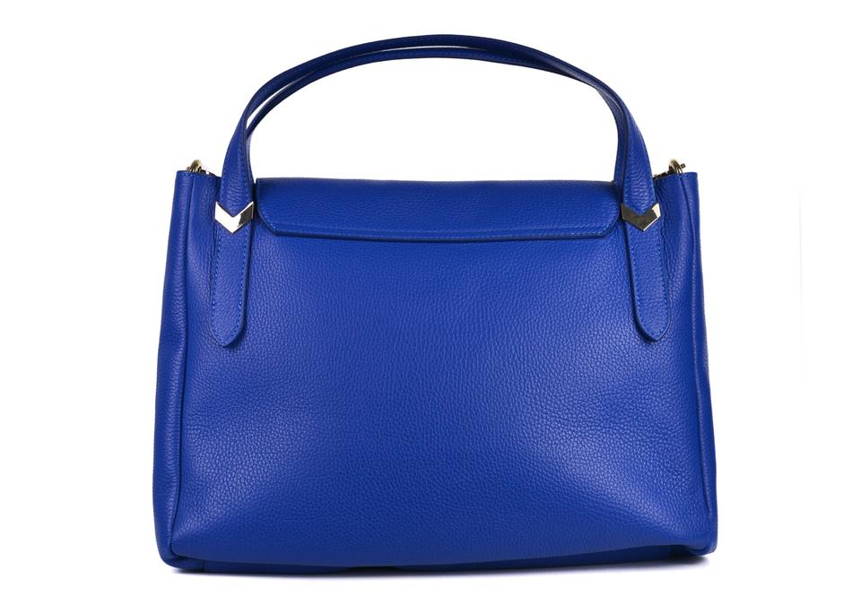 302b0aa7 Versace Collection Solid Pebbled Arrow F365 Blue Leather Shoulder Bag 78%  off retail