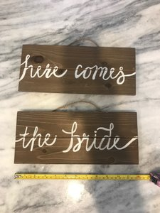 Wood Here Comes The Bride/ Mr & Mrs Wooden Signs Ceremony Decoration