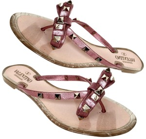 Valentino Flats Bow Jelly Flip Flops Pink Sandals