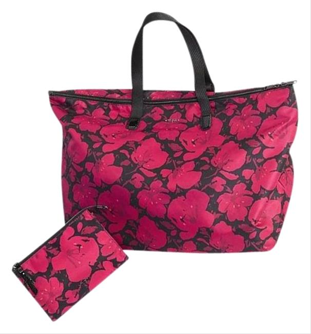 Item - New 2pcs Packable Floral Lightweight Duffel Tote +pouch Magenta Nylon Weekend/Travel Bag