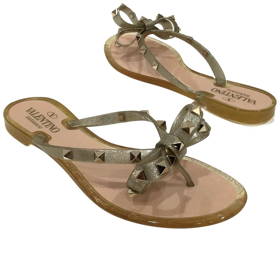 1582cbfc0602 Valentino Oro Gold Rockstud Jelly Bow Thongs Flip Flops Sandals Size ...