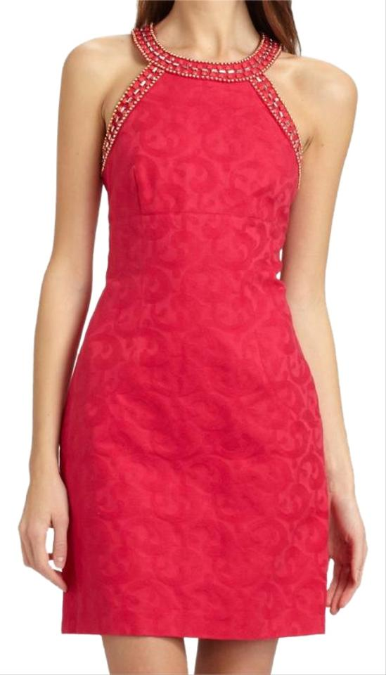 Laundry by Shelli Segal Pink Women s Red Beaded Neck Jacquard Cocktail Dress bad7dc4bd8