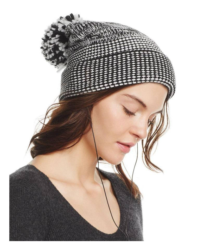 514c28a35 Rebecca Minkoff New Black & White Mouline Fringe Pom-pom Jacquard Beanie  Hat 22% off retail