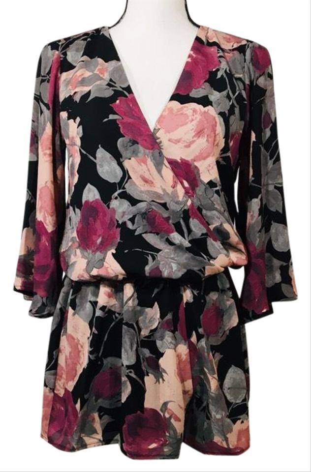 8583f3581a0 Lulu s Black Pink Purple Blooming Floral Romper Jumpsuit - Tradesy
