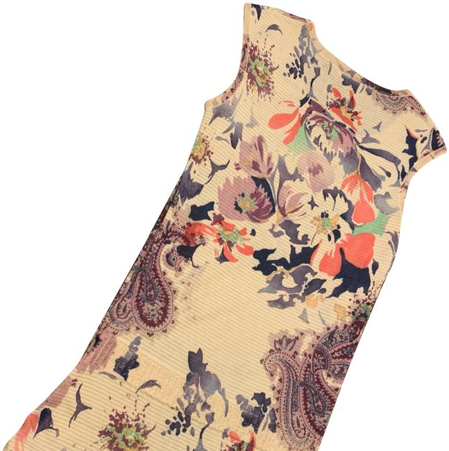 Item - Beige Multi Floral Cotton Sleeveless Mid-length Short Casual Dress Size 4 (S)