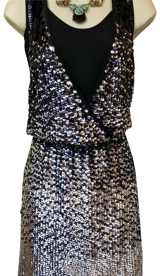 afb2a90ef2cd Tory Burch Navy Blue and Silver Rannon Ombré Sequin Above The Knee Cocktail  Dress