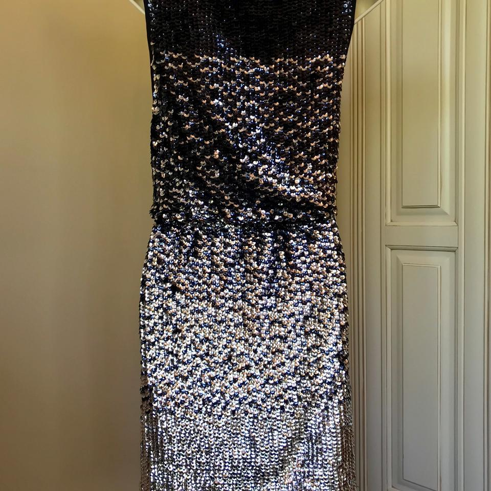 0c0ad7f5f45d Tory Burch Navy Blue and Silver Rannon Ombré Sequin Above The Knee Short  Cocktail Dress Size 6 (S) - Tradesy