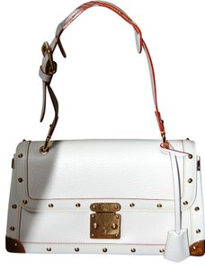 Louis Vuitton Cream White Leather Studded New Gold Strap Shoulder Bag