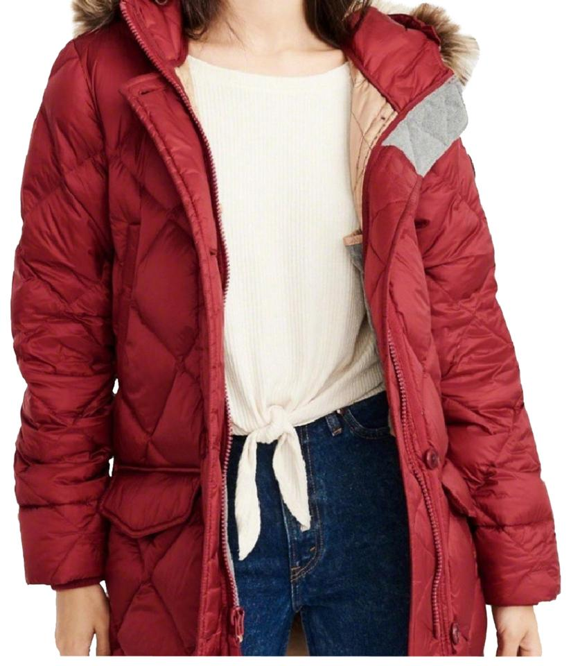 f9600b41b99 Abercrombie & Fitch Dark Red Down Filled Parka Coat Size 2 (XS ...
