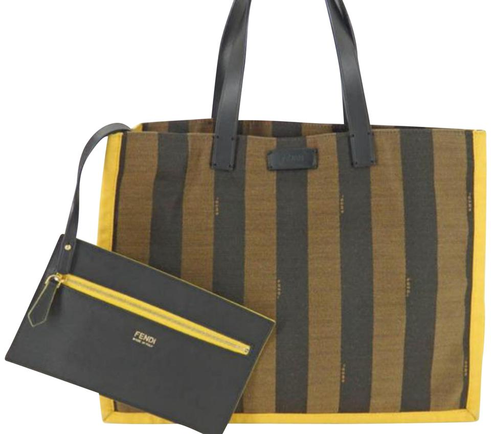 77fdf10bf3 Fendi Yellow X Zucca Pequin Stripe Tote with Pouch 869712 Brown Canvas  Shoulder Bag