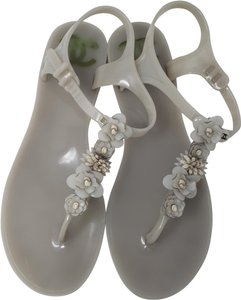 Chanel Jelly Camellia Interlocking Cc Gold Hardware Silver Hardware Grey Sandals