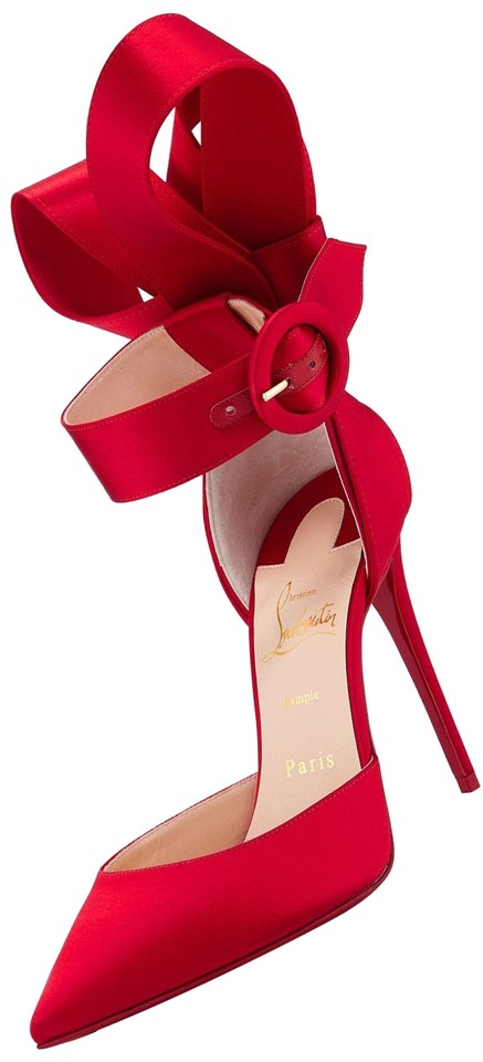 b15716be0be Christian Louboutin Red Raissa 100 Satin Ankle Strap Bow Heels Sandals Pumps