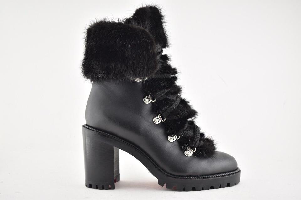 brand new 2a609 283d5 Christian Louboutin Black Fanny 70 Calf Leather Fur Lace Up Stiletto Heel  Combat Boots/Booties Size EU 42 (Approx. US 12) Regular (M, B)