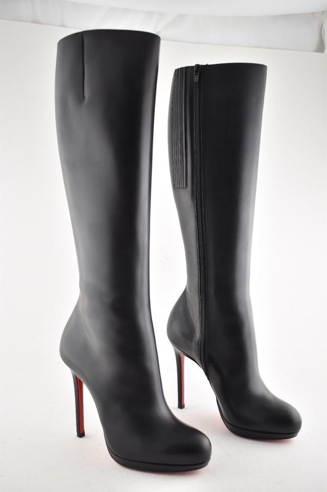 best service 47871 1e794 Christian Louboutin Black Botalili 120 Calf Leather Classic Knee High  Stiletto Zipper Heel Boots/Booties Size EU 36.5 (Approx. US 6.5) Regular  (M, B)