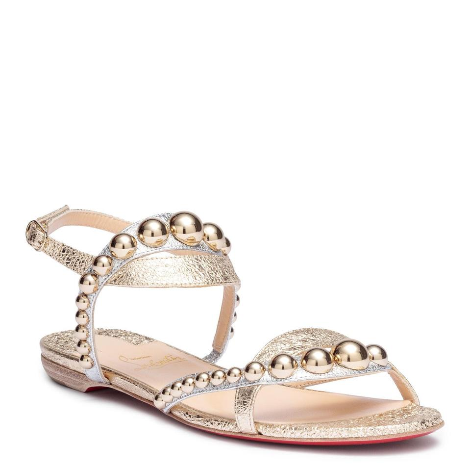 bfb2adb85bb Christian Louboutin Ankle Strap Galeria Studded Flats Metallic Light Gold  Sandals Image 0 ...